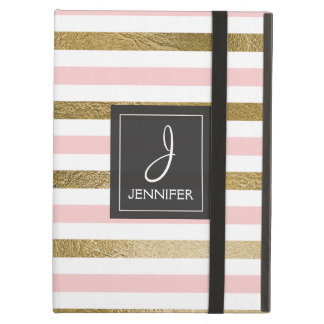 Pink and Gold Foil Striped Elegant Monogram Cover For iPad Air