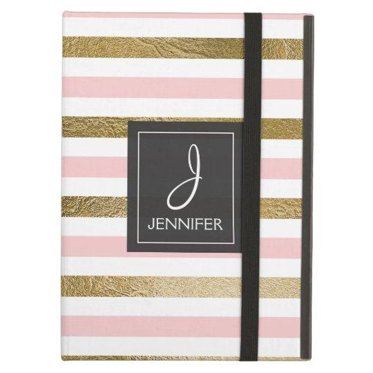 Pink and Gold Foil Striped Elegant Monogram Cover