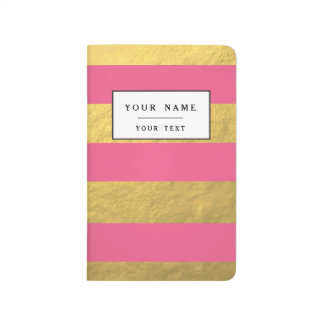 Pink and Gold Foil Stripes Printed Journal