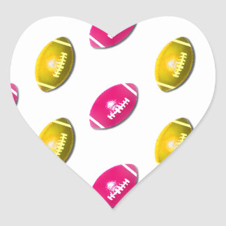 Pink and Gold Football Pattern Heart Sticker