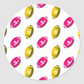 Pink and Gold Football Pattern Round Sticker