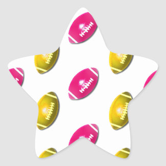 Pink and Gold Football Pattern Star Sticker