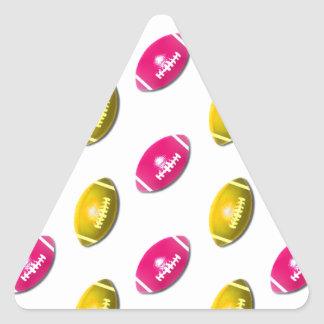 Pink and Gold Football Pattern Triangle Sticker