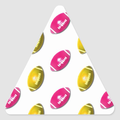Pink and Gold Football Pattern Triangle Stickers