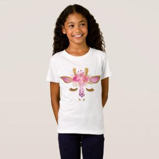 Pink and Gold Giraffe Girls T-Shirt