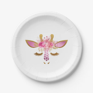 Pink and Gold Giraffe Paper Plates