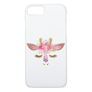 Pink and Gold Giraffe phone case