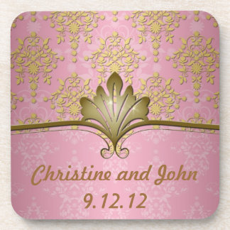 Pink and Gold Girly Damask Beverage Coaster
