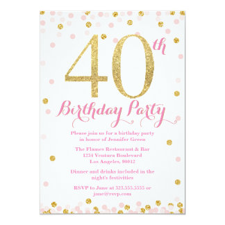 Pink and Gold Glitter 40th Birthday Party 13 Cm X 18 Cm Invitation Card