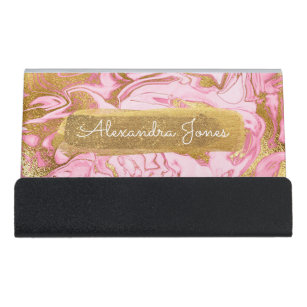 Pink glitter business card holders zazzle pink and gold glitter and sparkle marble desk business card holder colourmoves