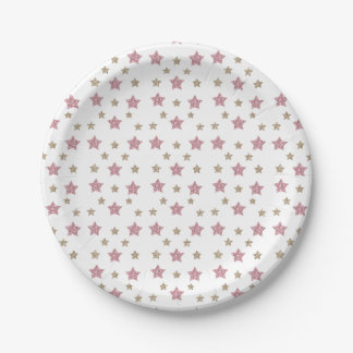 Pink and Gold Glitter Dessert Paper Plate