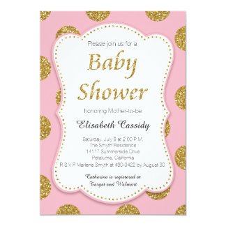 Pink and Gold Glitter Dots Baby Shower Invitation