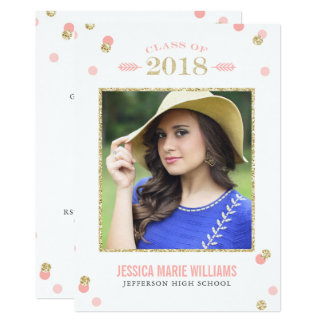 Pink and Gold Glitter Dots Graduation Invitations