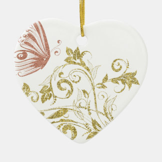 Pink and Gold Glitter Effect Butterfly Ceramic Heart Decoration