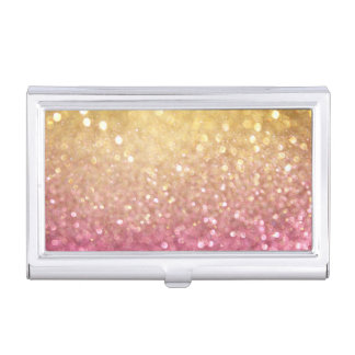 pink and gold glitter look business card holder