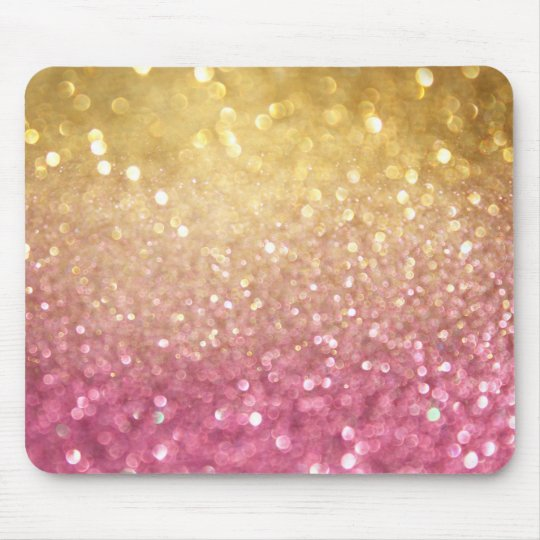 pink and gold glitter look mouse mat