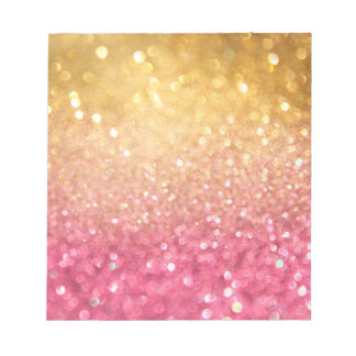 pink and gold glitter look notepad