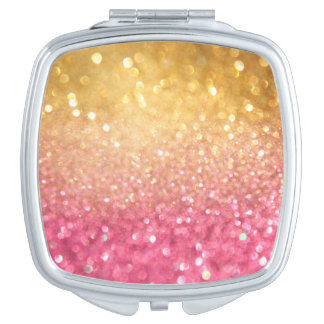 pink and gold glitter look vanity mirror