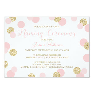 Baby naming ceremony invitations announcements zazzle uk pink and gold glitter naming ceremony invites stopboris Choice Image