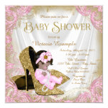 Pink and Gold Glitter Shoe Pearl Baby Shower 13 Cm X 13 Cm Square Invitation Card