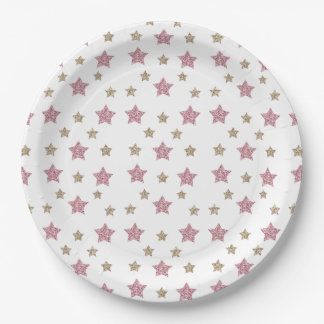 "Pink and Gold Glitter Star 9"" Paper Plate"