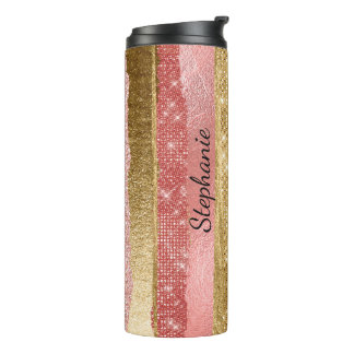 Pink and Gold Glitter Stripes Thermal Tumbler