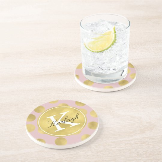Pink and Gold Glitz Dots Monogram Coaster