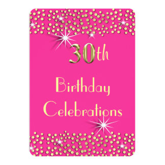 Pink and Gold Glitzy Sparkle 30th Birthday Party Card