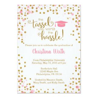 Pink and Gold Graduation Invitation