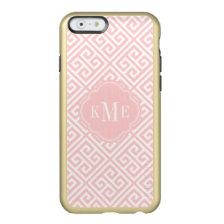 Pink and Gold Greek Key Monogram Incipio Feather® Shine iPhone 6 Case