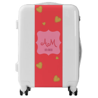 Pink and gold hearts monogram luggage trolley