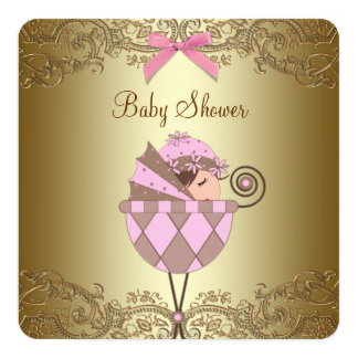 Pink and Gold Lace Girl Baby Shower 13 Cm X 13 Cm Square Invitation Card