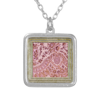 Pink And Gold Lace Silver Plated Necklace