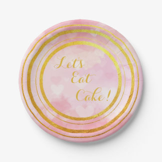 Pink and Gold Let's Eat Cake Paper Plates
