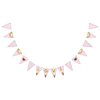 "Pink and Gold ""Love"" Garland Flag Banner"