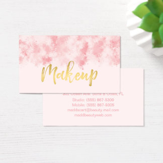 Pink and Gold Makeup Business Card