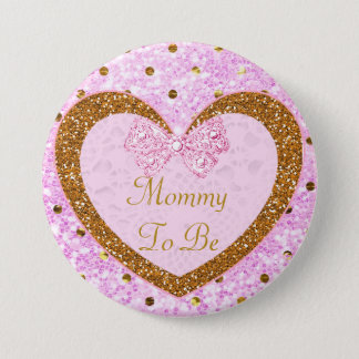 Pink and Gold Mama to Be Baby Shower Button