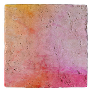 Pink and Gold Marble Custom Travertine Stone Trive Trivet