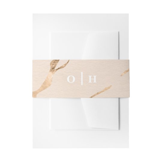 Pink and gold marble effect invitation belly band