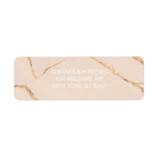 Pink and gold marble effect return address labels
