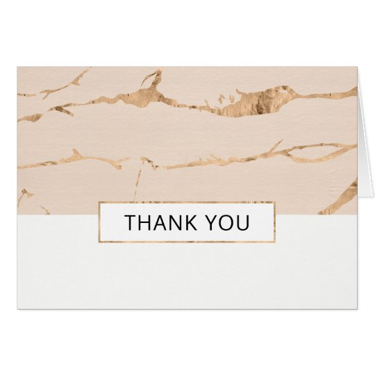 Pink and gold marble effect thank you card- folded card