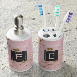 Pink and Gold Marble Monogram Bathroom Set