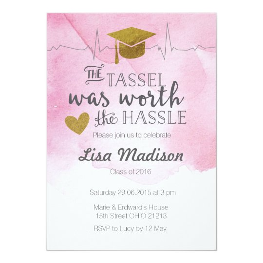 Pink and Gold nurse graduation Invitation
