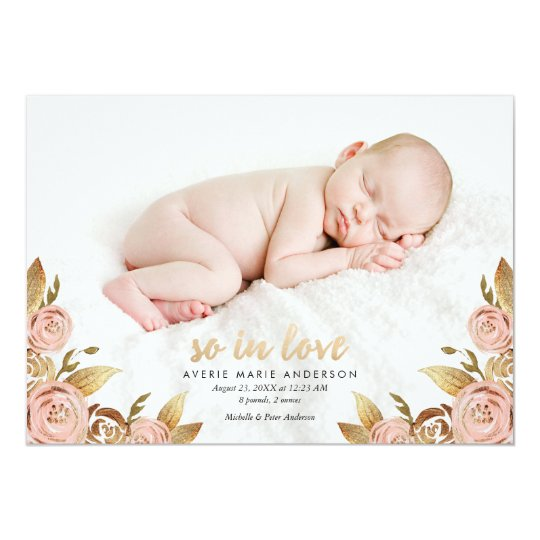 Pink and Gold Painterly Rose Birth Announcement