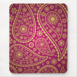 Pink and gold paisley mouse mat