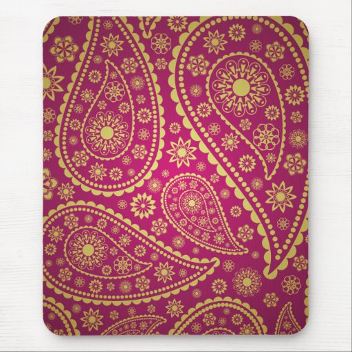 Pink and gold paisley mouse pads