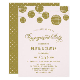 Pink and Gold Paper Lanterns Engagement Party Card