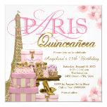 Pink and Gold Paris Quinceanera 13 Cm X 13 Cm Square Invitation Card