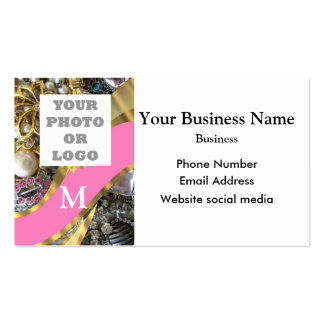 Pink and gold pattern company logo pack of standard business cards