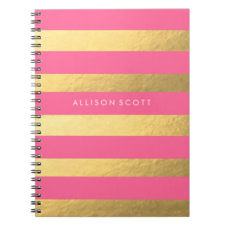 Pink And Gold Personalised Notebook